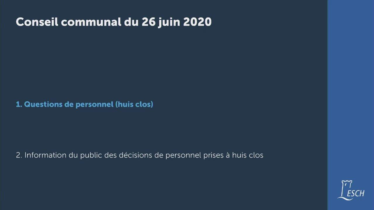 Conseil communal du 26 juin 2020