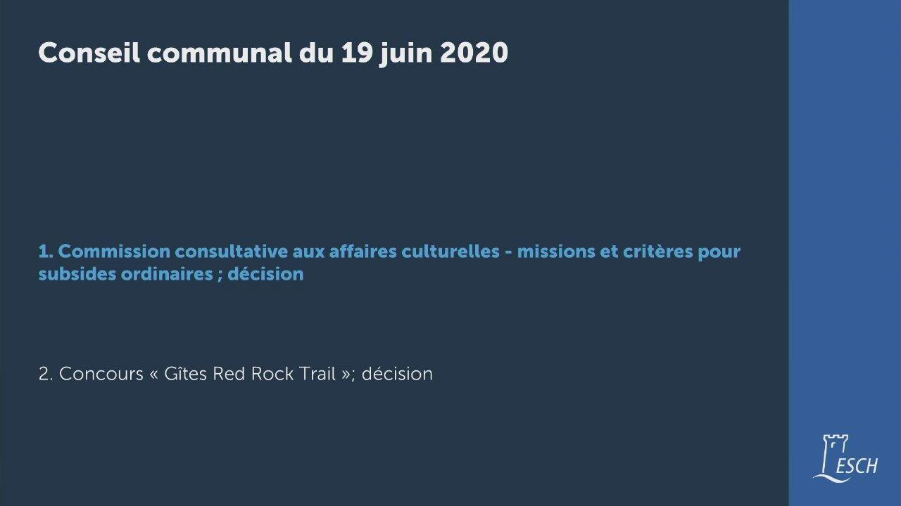 Conseil communal du 19 juin 2020