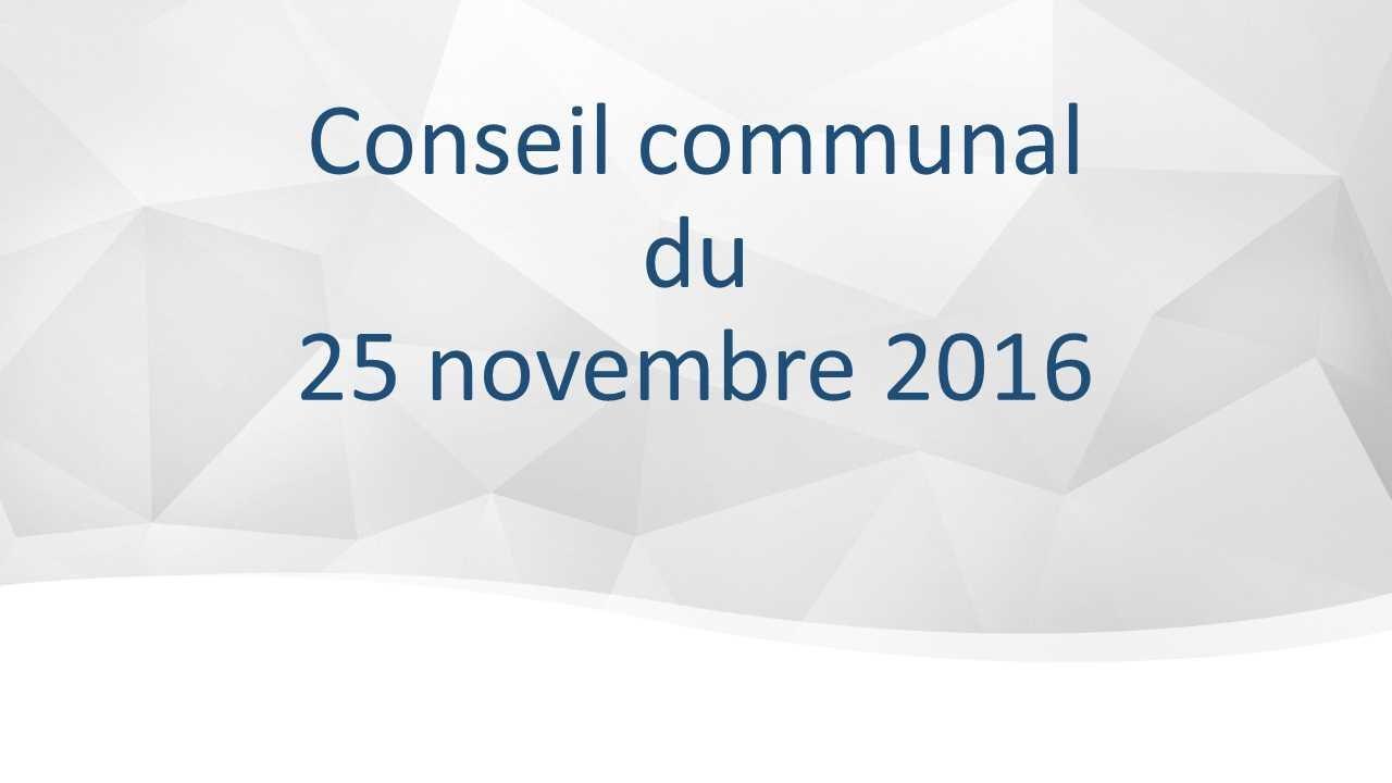 Conseil Communal du 25 novembre 2016