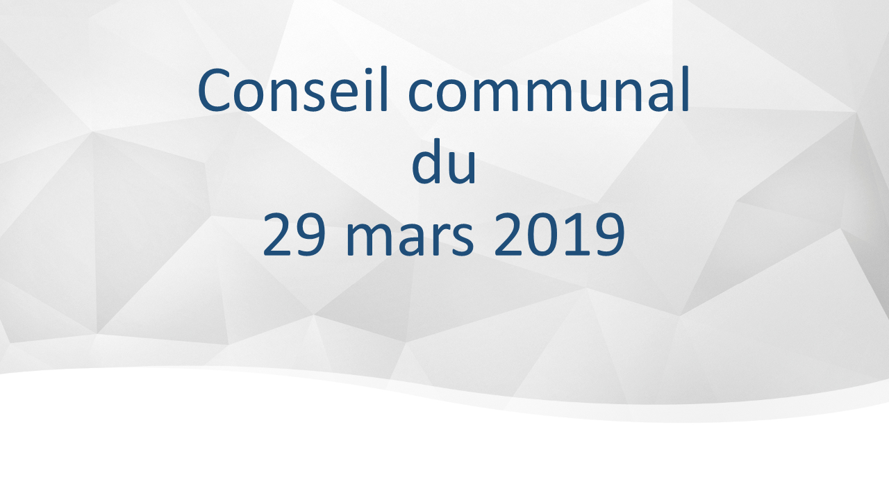 Conseil communal du 29 mars 2019