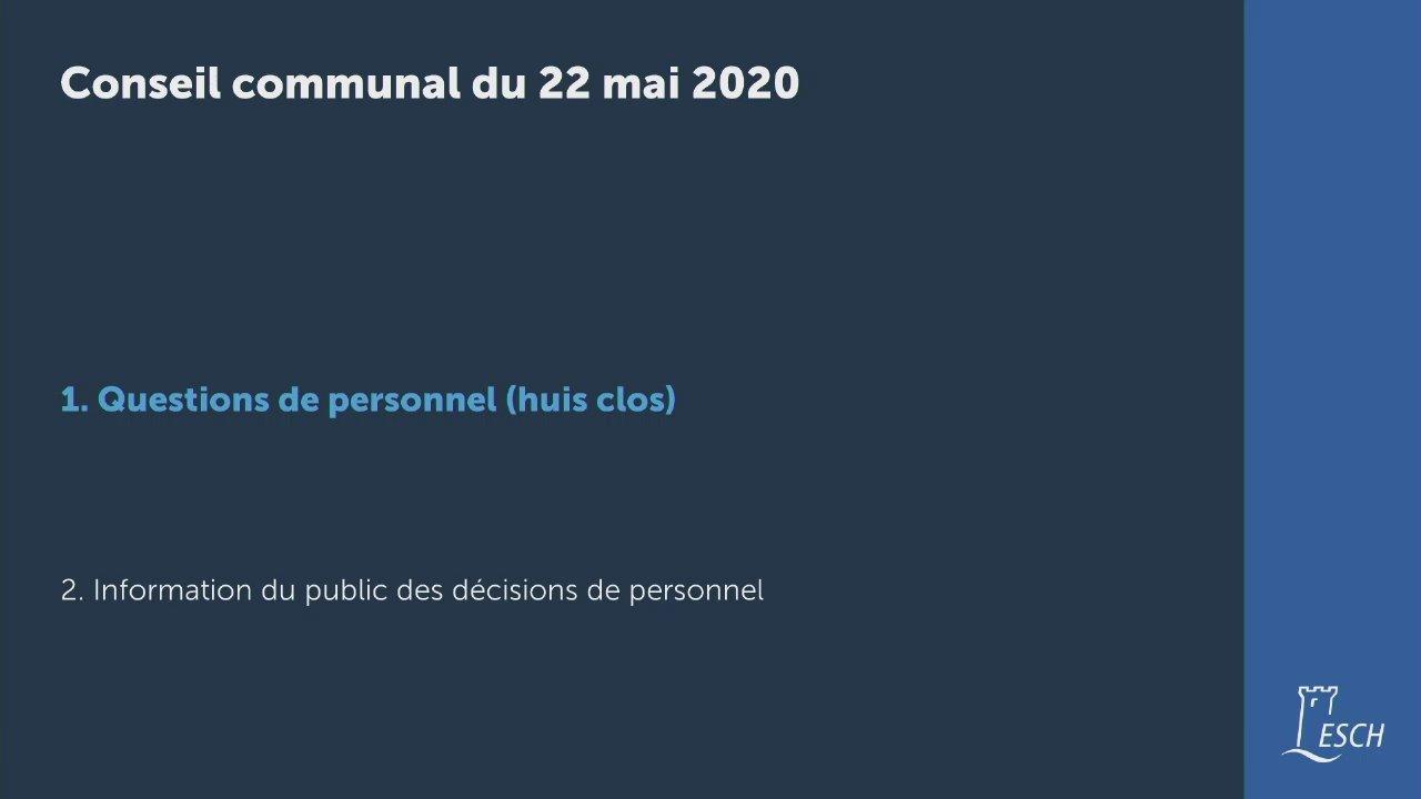 Conseil communal du 22 mai 2020